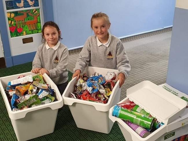 Emma and Sophie the school's recycling ambassadors