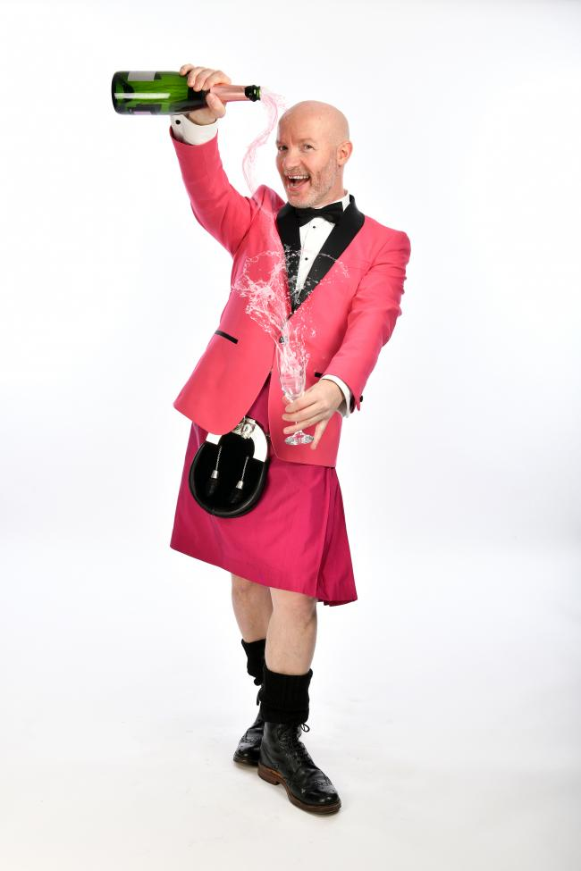 Kilted and pretty in pink, Craig Hill is bound to make you laugh. Photo: Steve Ullathorne