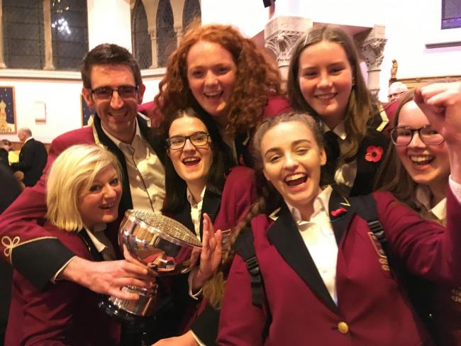 Band members after collecting the 4th Section Trophy at Kelso North Parish Church