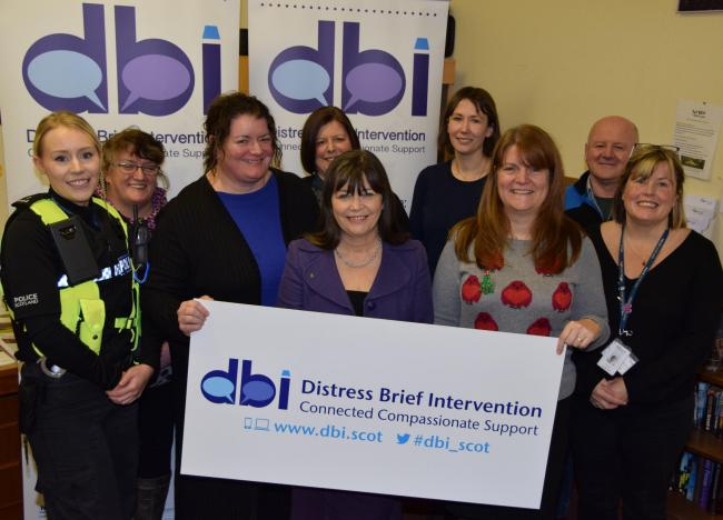 Minister for Mental Health Clare Haughey MSP with representatives of the Borders DBI team.