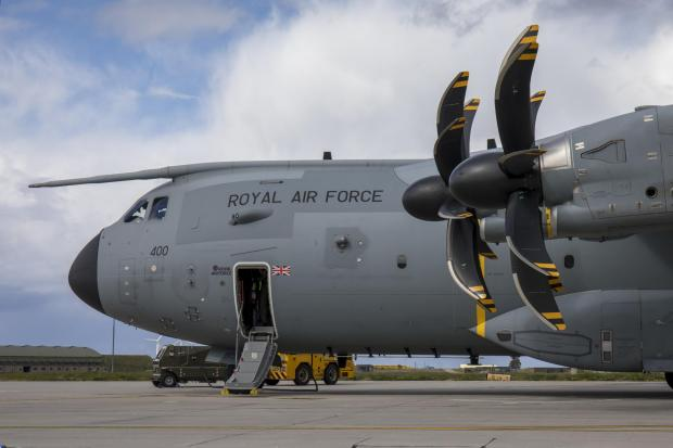 Peeblesshire News: This is an Airbus A400M Atlas, the type of airfact seen over Glasgow in recent weeks (Image: RAF)