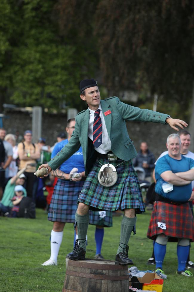 Chris Patterson hurls a haggis in 2019. Photo: Helen Barrington