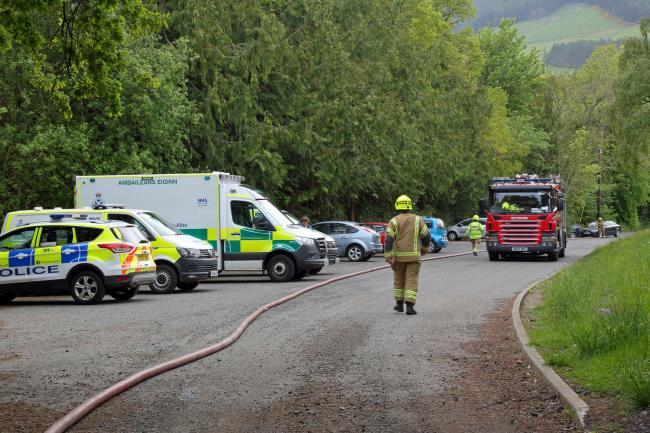 Crews attending a shed fire in Galashiels on May 25, 2020. Photo: Walter Baxter