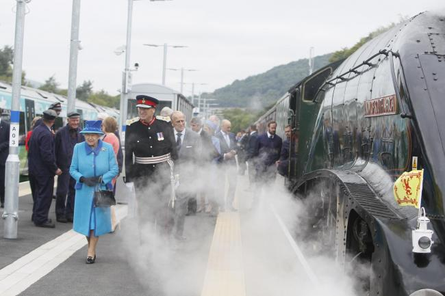 The Queen arrives at Tweedbank to officially open the Borders Railway on September 9, 2015. Photo: Helen Barrington