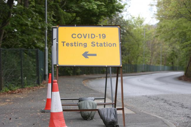 The COVID-19 testing station at Netherdale, Galashiels.