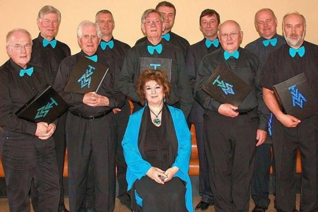 Peeblesshire News: With members of the Tweed Valley Male Voices, the choir she founded