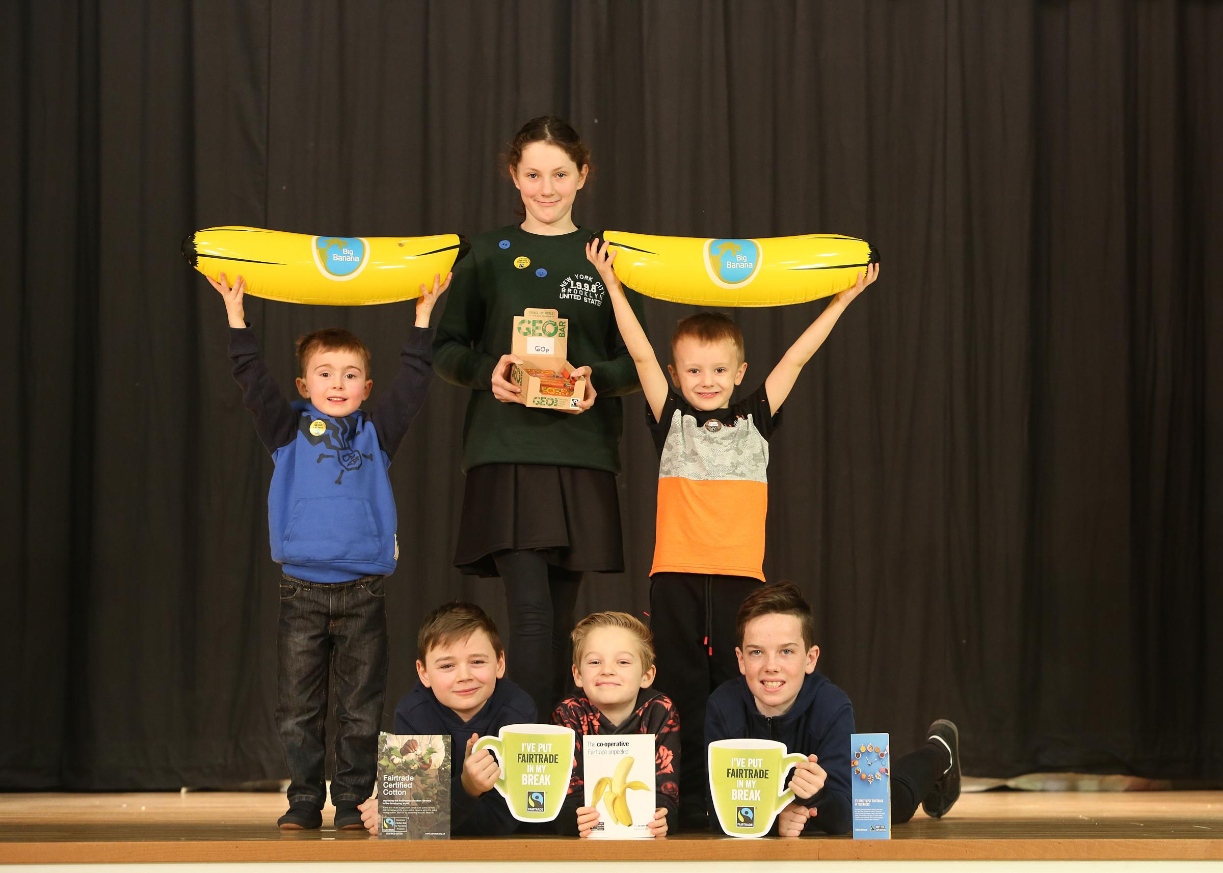 Some of the school's Fairtrade Committee members: Calum Gardiner P1, Evan Calvin P1, Abby Colley P7, Max Jaskiewicz P7, Louis Meikle P7 and Conor Monteith p7. Photo: Helen Barrington