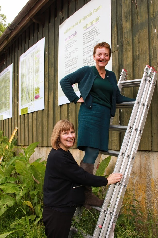 Heather Anderson, Whitmuir Farm Owner and Julie Barclay, Designer assisted with putting up the new signage around the 2000m² plot