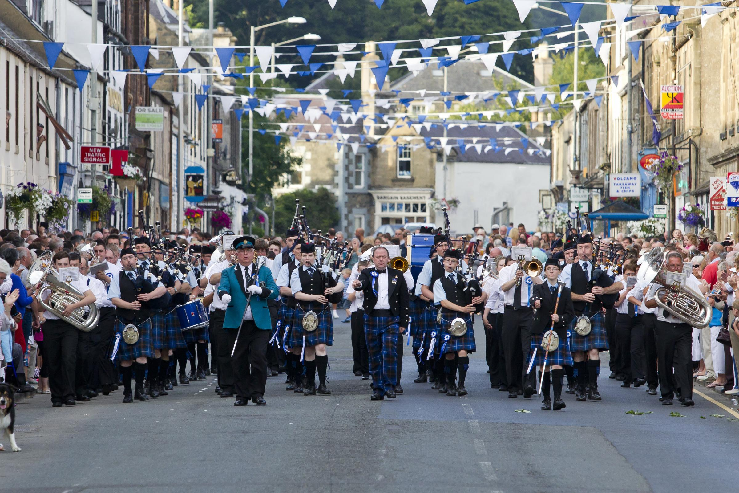 St. Ronan's Silver Band and Innerleithen Pipe Band on parade.