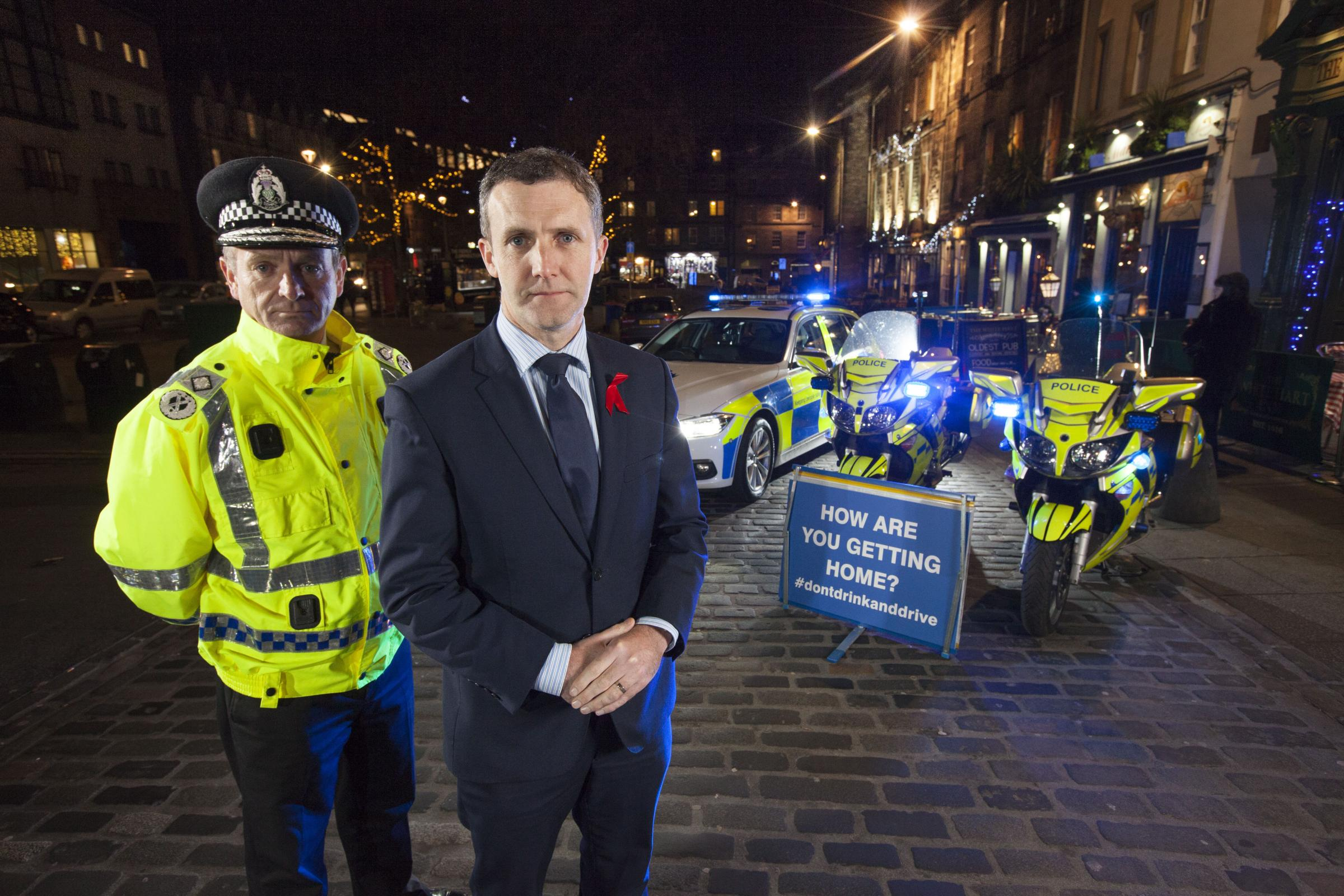Justice Secretary Michael Matheson launched the Festive Drink Drive campaign in Edinburgh with Deputy Chief Constable Iain Livingstone. Photo: Chris James
