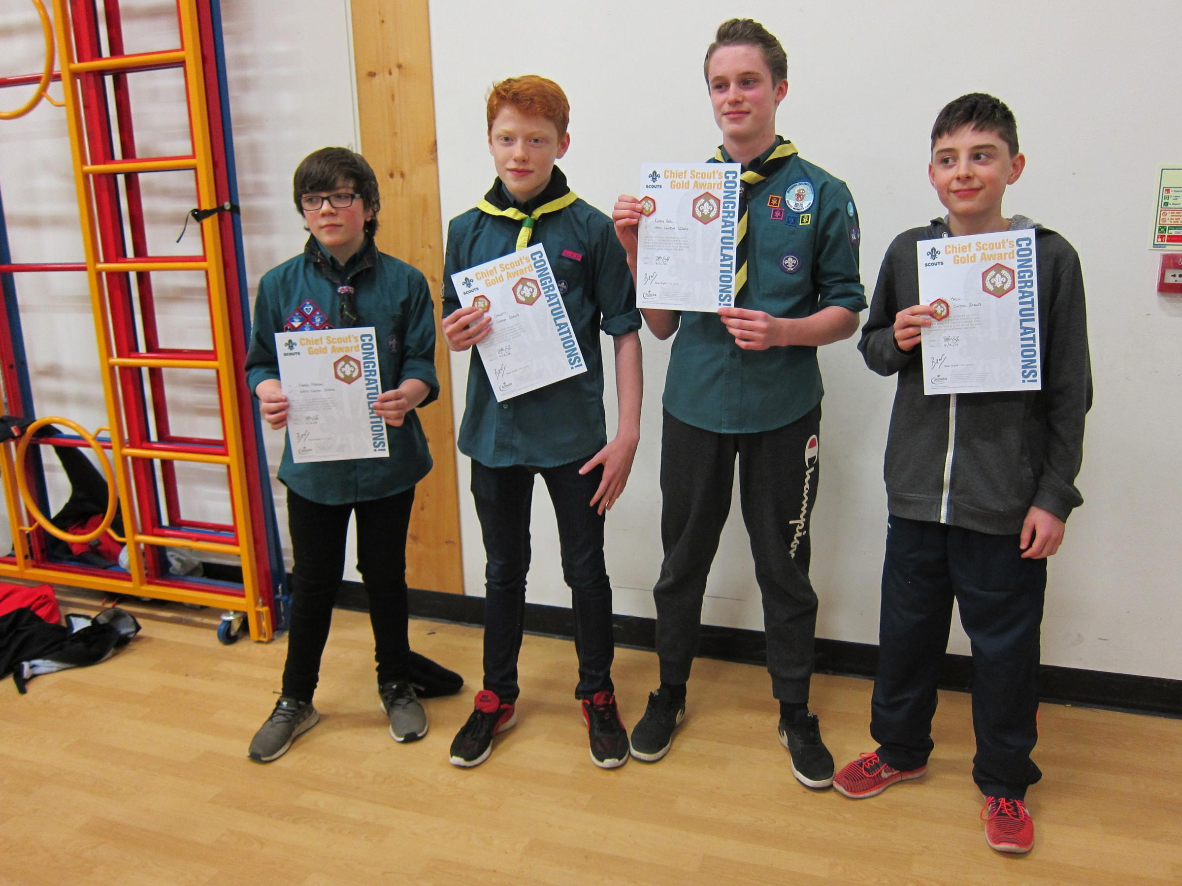 Harris Merson, Euan Cackett, Roddy Bell and Joe Hall picked up their awards earlier this month. Photo: Linda Gray