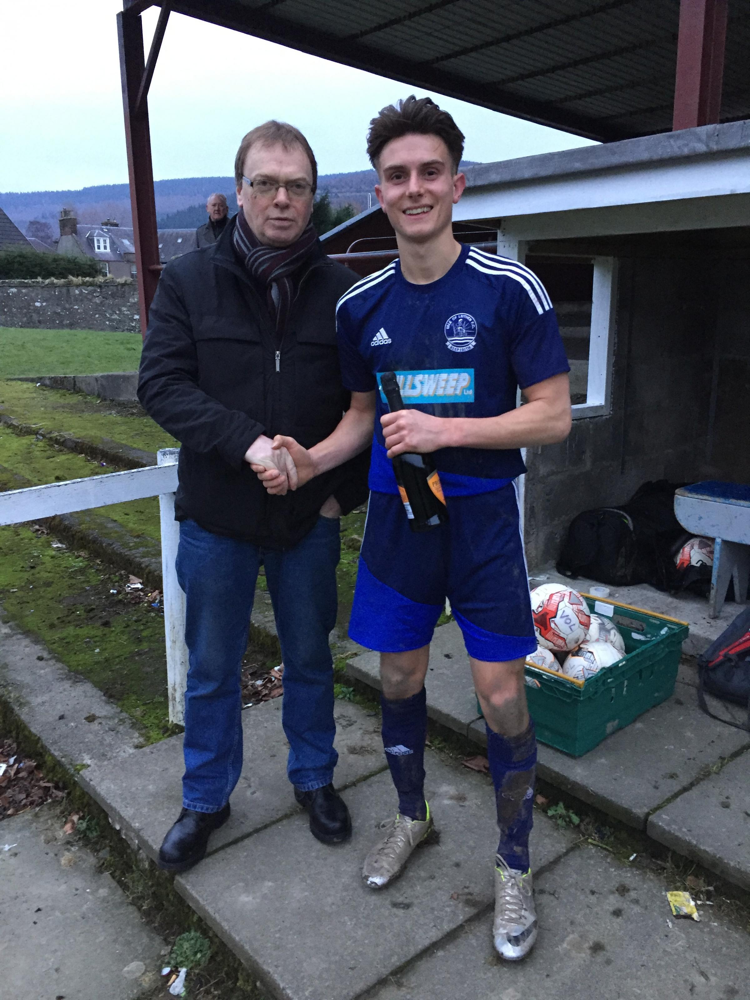 Sean Stewart, photographed recently with his man-of-the-match award, almost equalised for Vale.