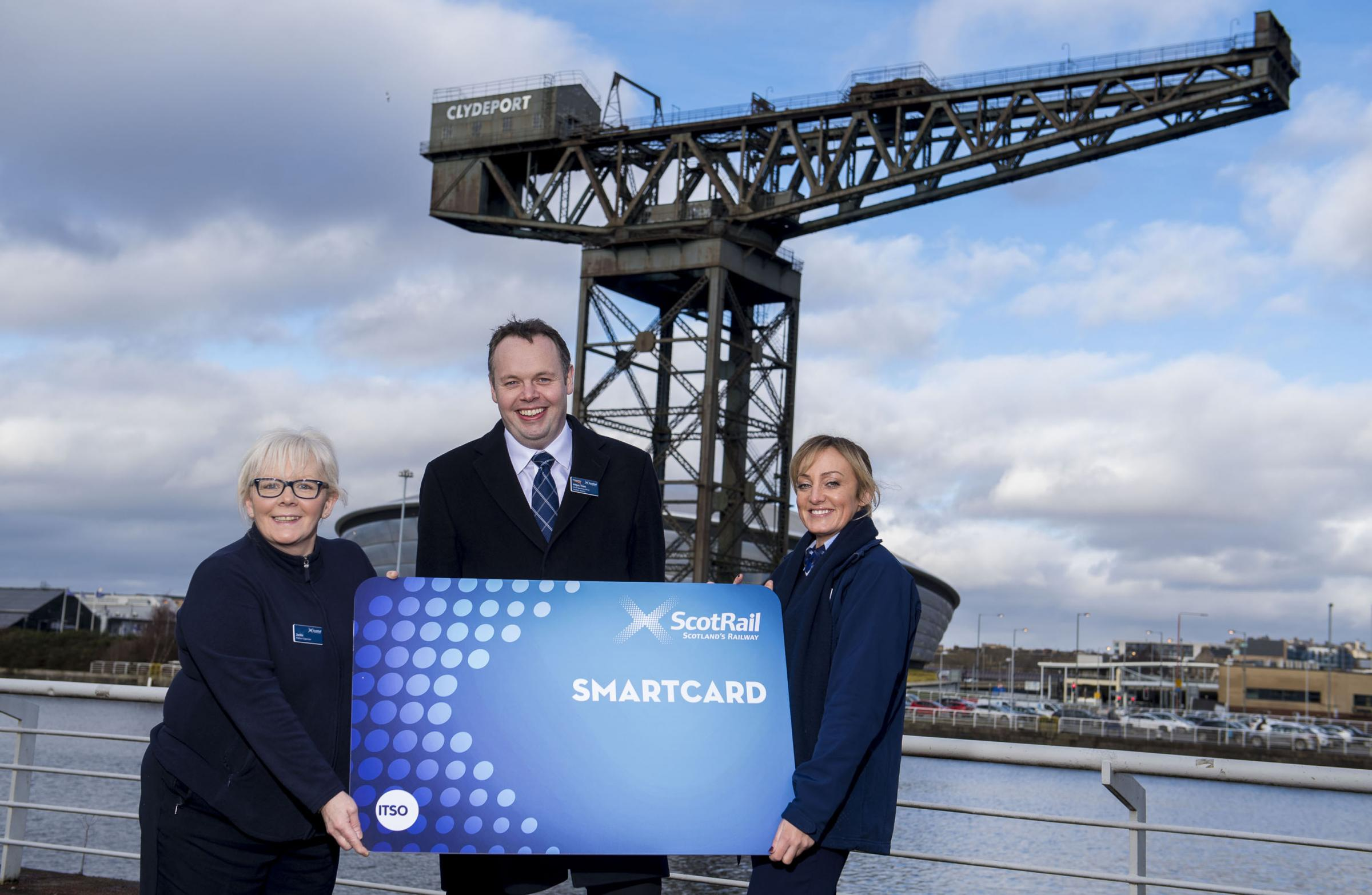 (L-R) Platform Supervisor Jackie Williamson, Chief Operating Officer Angus Thom, and Service Assistant Suzanne Customer promote the Scotrail Smartcard. Photo: ScotRail