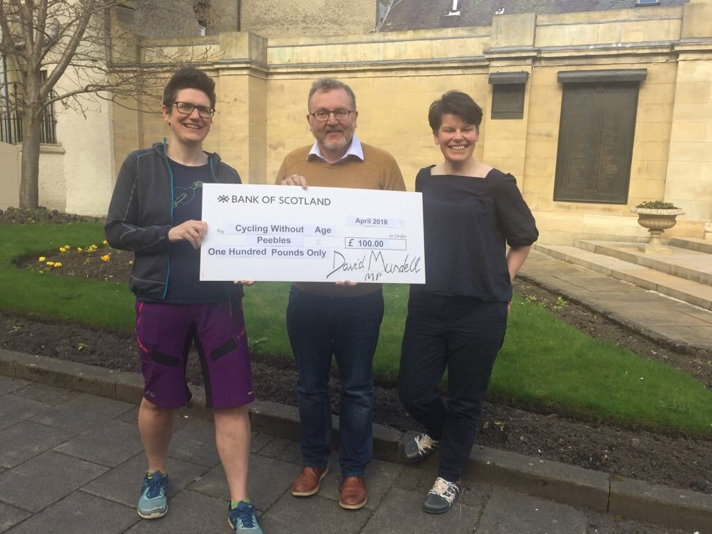 David Mundell MP presenting the cheque to Jo Cunliffe (left) and Kirsty Peebles