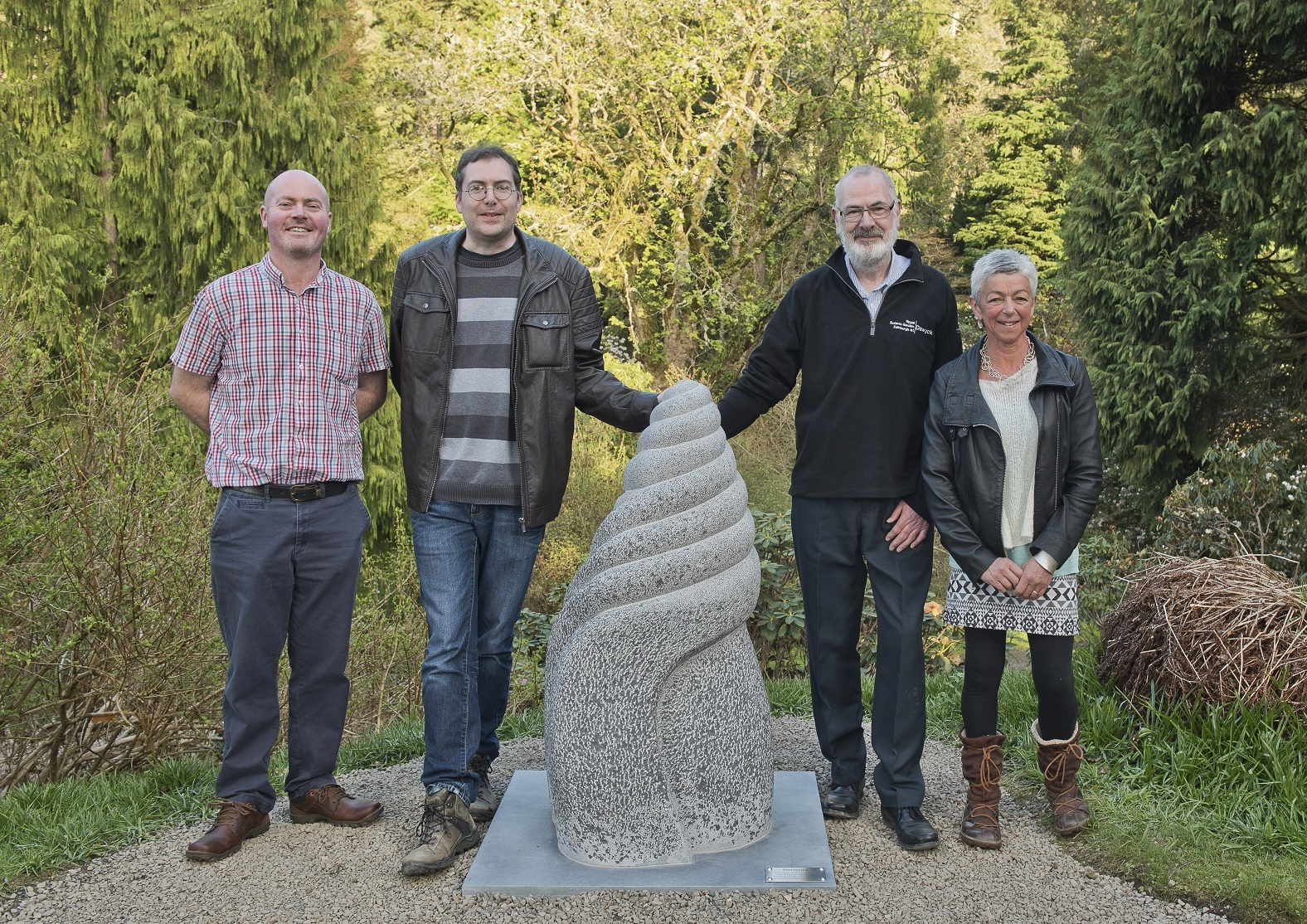 Gavin and Stuart at the new sculpture with Graham Stewart and Susheila Jamieson