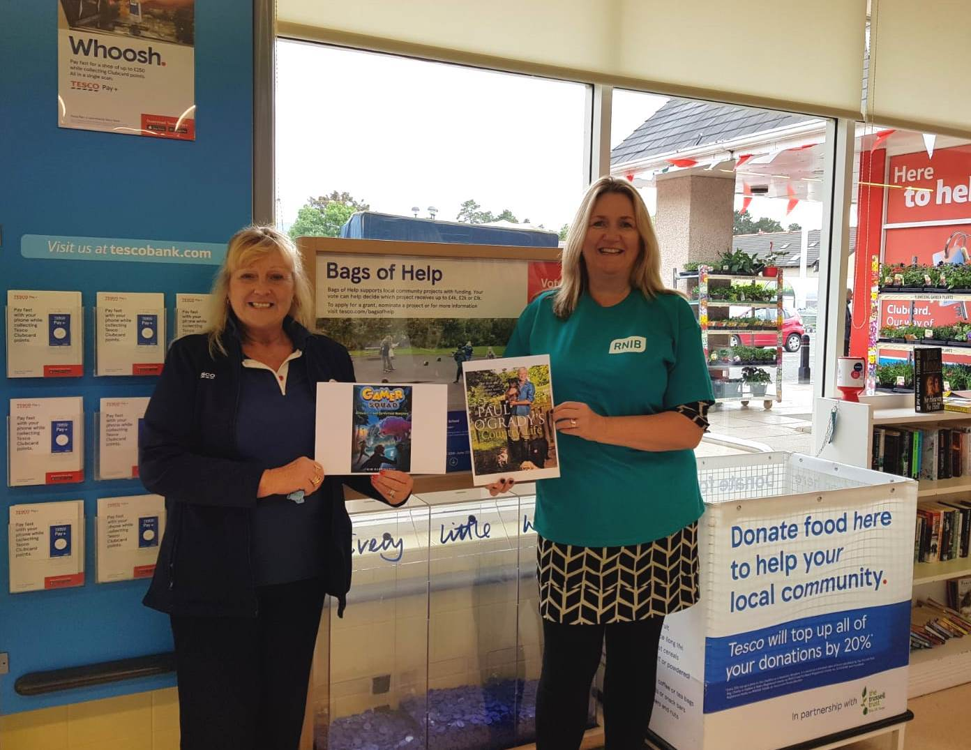 Pauline Weir, community champion from Tesco Peebles, and Angela Preston, fundraising manager with RNIB Scotland.