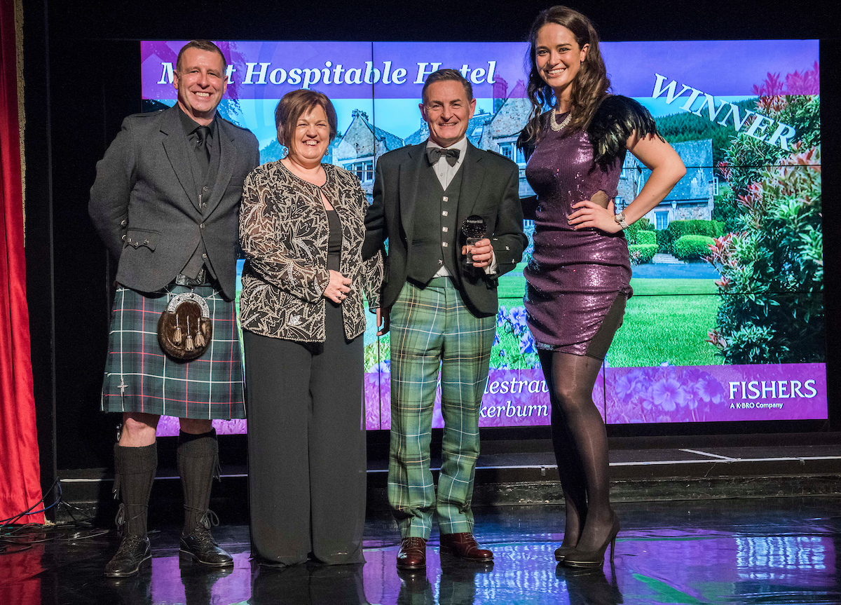 Fishers, Commercial Director, Scott Inglis, Sylvia Matthews and John Matthews, owner of Windlestraw and Scottish Thistle Awards Regional Final host, Jennifer Reoch.