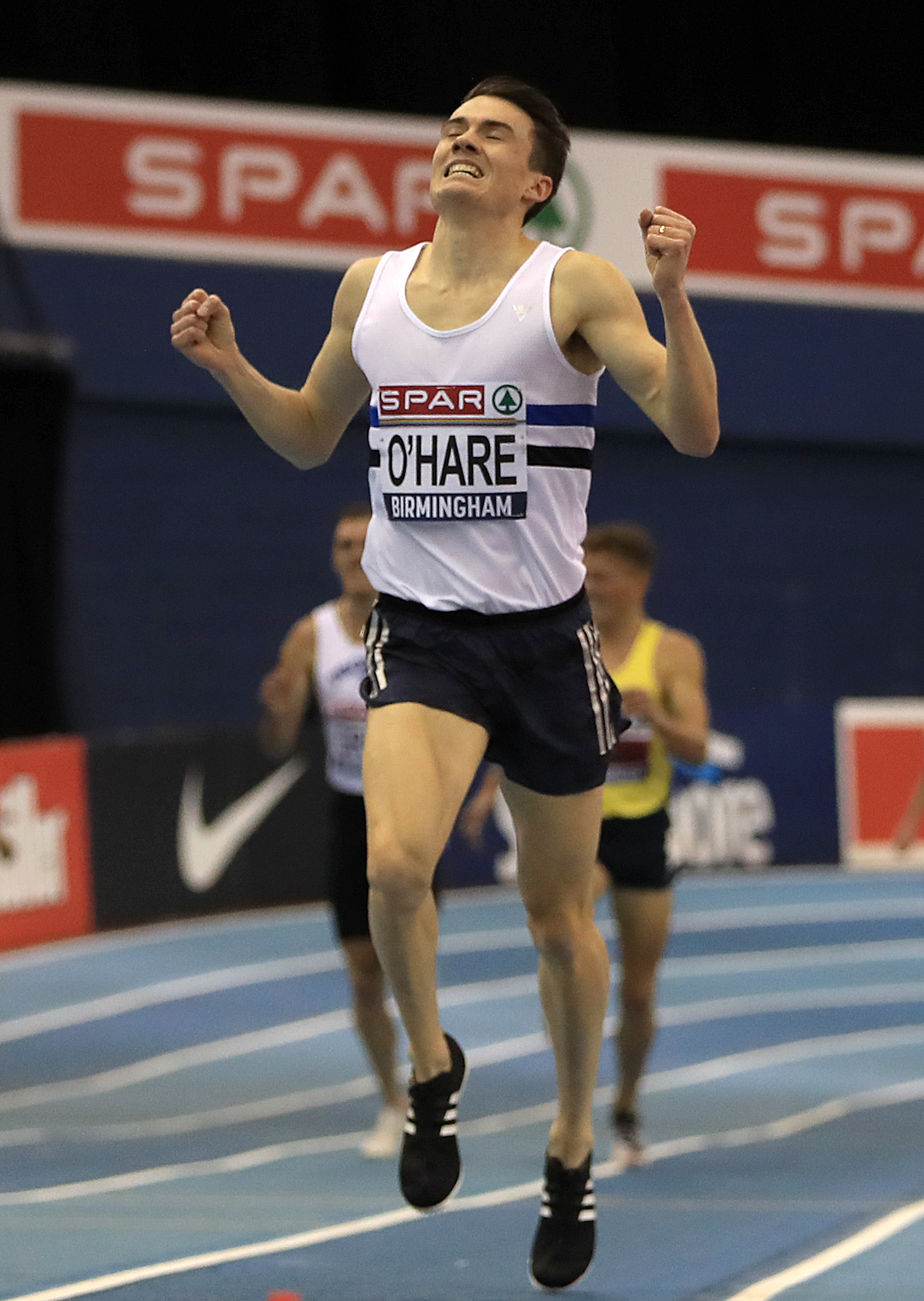Chris O'Hare celebrates winning the Men's 3000 metres. Photo: Simon Cooper/PA Wire