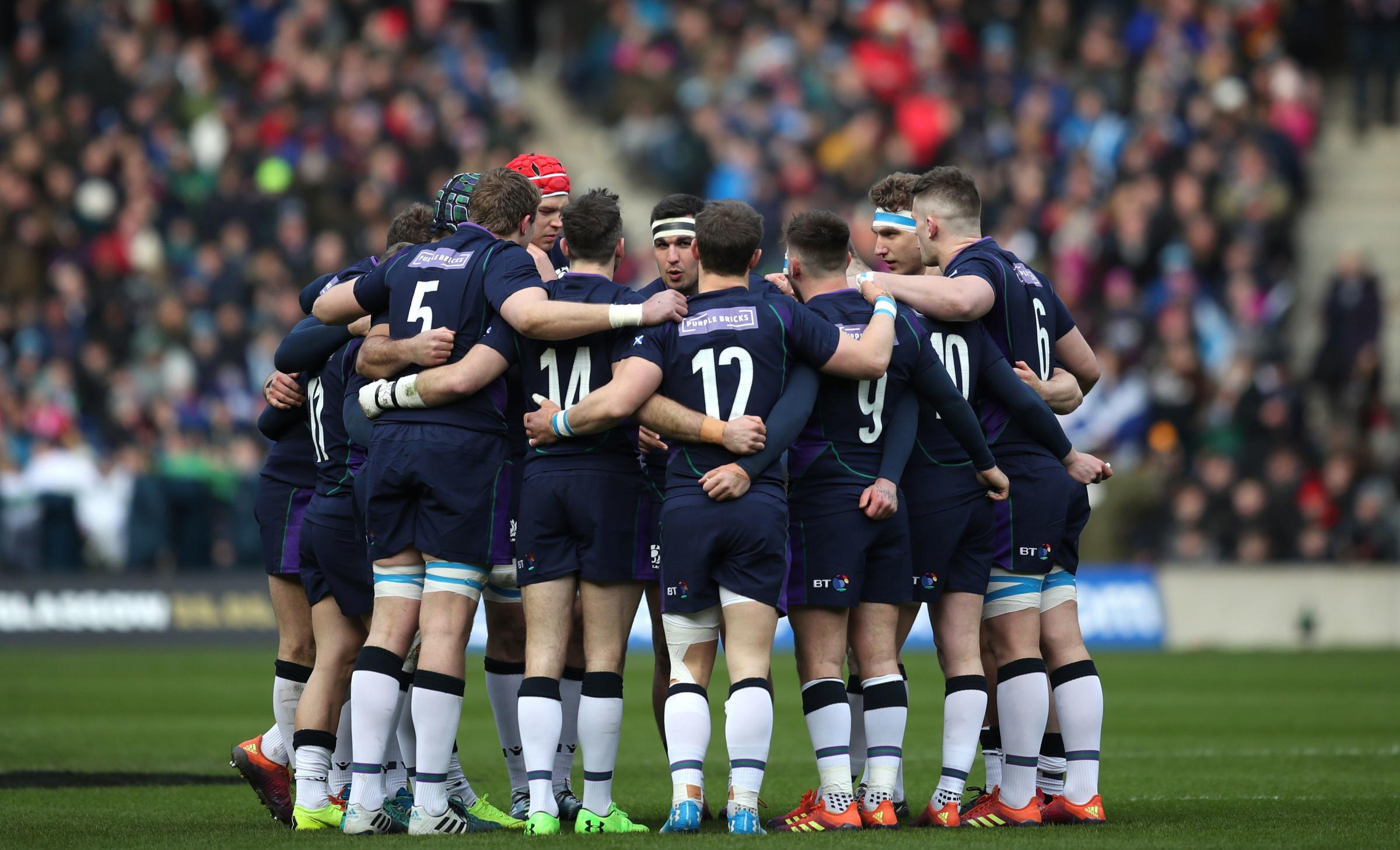 Scotland team huddle prior to the Guinness Six Nations match at BT Murrayfield. Photo: Jane Barlow/PA Wire.