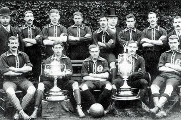 Everton's Championship-winning team from 1891. David Jardine is third from the left on the back rown
