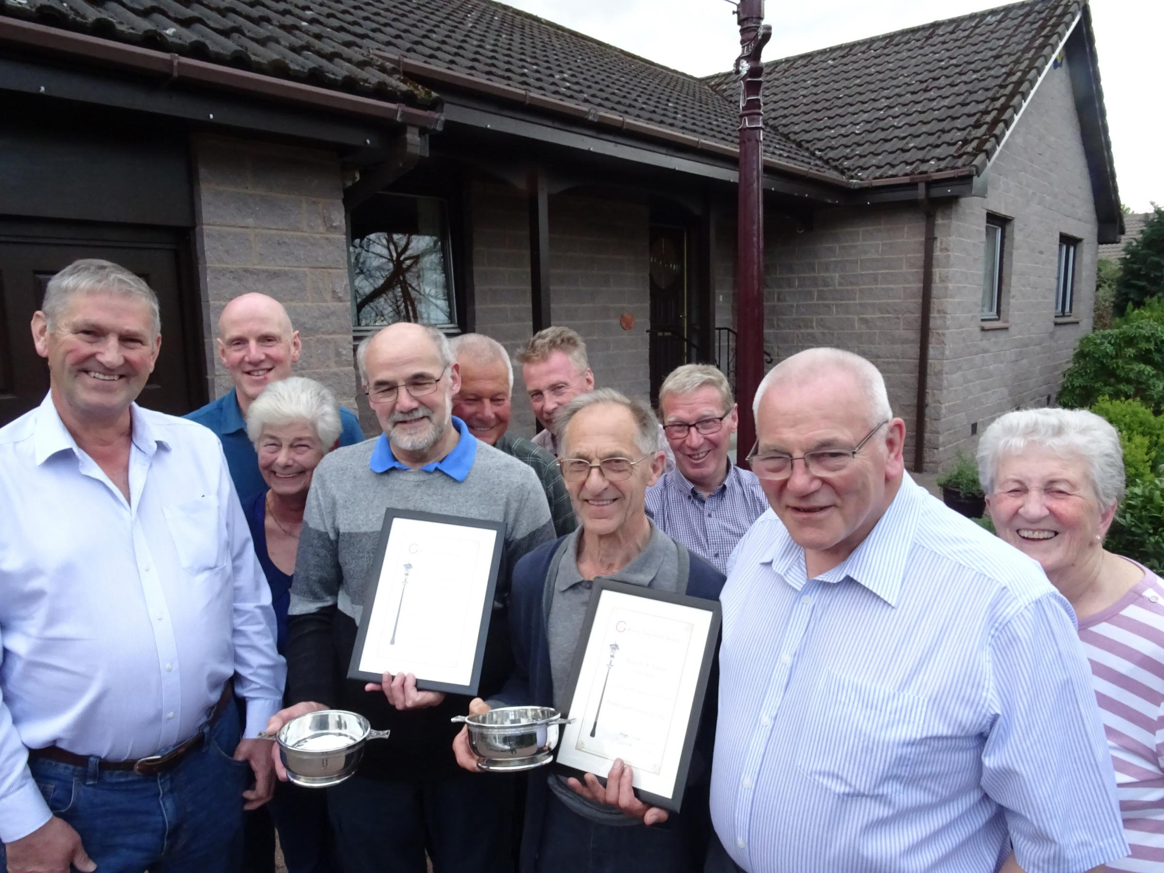 Some Peebles Gutterbluids Society members with Award recipients, Bill Wallace and Drew Fraser.Photo courtesy of D Wright